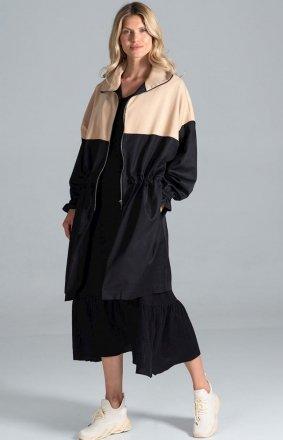 Kolorowy płaszcz damski parka M817 czarny-beż
