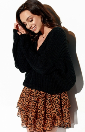 Oversizowy czarny sweter z dekoltem LS292