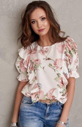 Stylowa bluzka w kwiaty 0074/S49