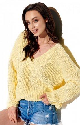 Oversizowy sweter z dekoltem cytrynowy LS292