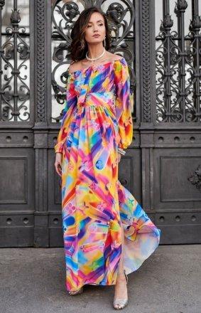 Elegancka długa sukienka w kolorowy print 0245/S48