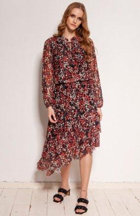 Sukienka z siateczkowej tkaniny czerwona SUK193