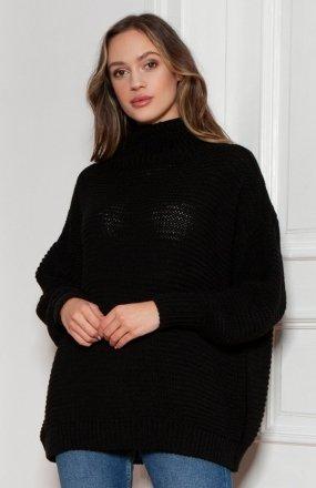Sweter oversize z golfem czarny SWE148