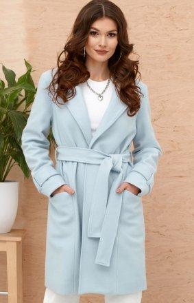 *Wiązany płaszcz damski błękitny 0019
