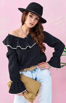 Romantyczna bluzka z falbankami czarna 0111