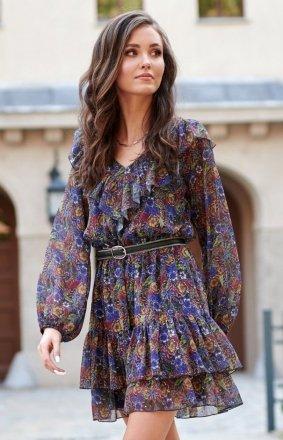 Kobieca sukienka mini z falbankami 0298 R85