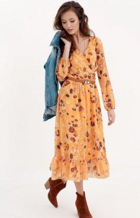 Sukienka midi z falbaną w kolorowe kwiaty 0241/D18