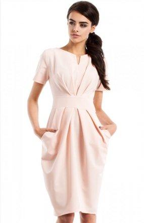 Moe MOE234 sukienka pudrowy róż