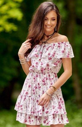 Letnia sukienka hiszpanka w kolorowe kwiaty 0291 S50