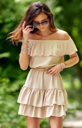 Letnia sukienka hiszpanka beżowa 0291