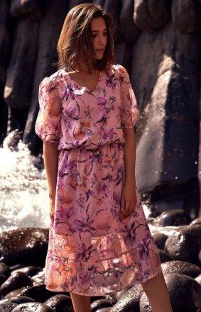 Sukienka midi w kwiaty S215/2