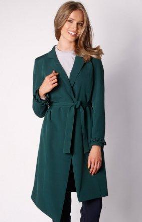 Wiązany asymetryczny płaszcz zielony NA035LP