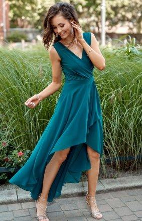 Szyfonowa sukienka z asymetrycznym przodem 0294 zielona