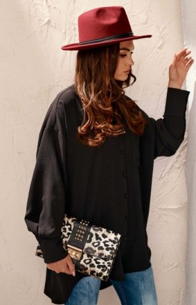 Oversizowa koszula damska czarna 0125
