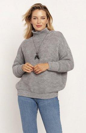 MKM SWE246 żebrowany sweter z golfem szary