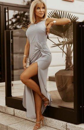 Wieczorowa sukienka maxi srebrna 2226-04