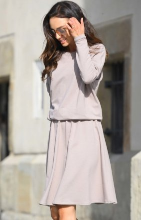 Bawełniana sukienka cappucino L347