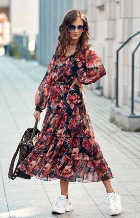 *Elegancka sukienka midi w kolorowe kwiaty 0304/R79