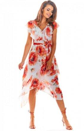 Sukienka letnia w kolorowe kwiaty A308