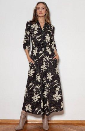 Długa sukienka z rękawem 3/4 i troczkiem wzór liście SUK205