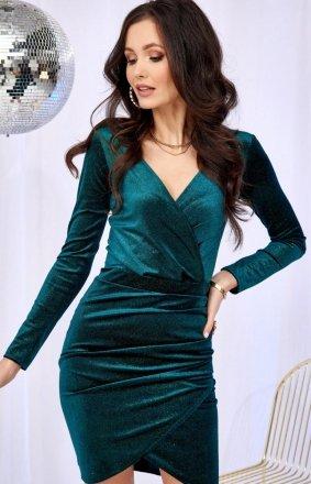 Kopertowa sukienka z połyskiem zielona 0318