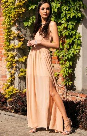 Elegancka szyfonowa sukienka beżowa 0213