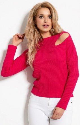 *Sweterkowa bluzka z rozcięciem amarantowa F920