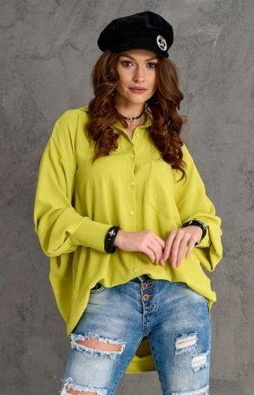 Oversizowa koszula damska 0107 limonka