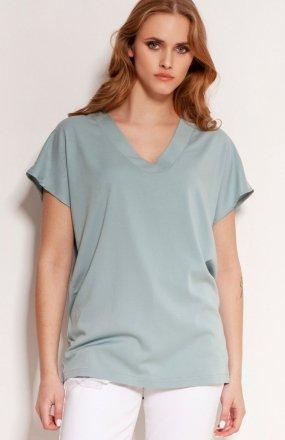 Wiskozowy t-shirt w serek miętowy BLU151
