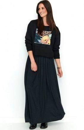Zwiewna długa spódnica czarna NU188