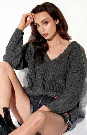 Oversizowy sweter z dekoltem grafitowy LS292