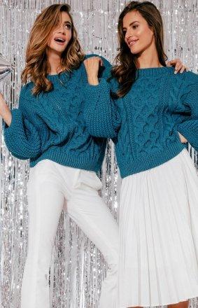 Niebieski oversizowy sweter Fobya F866