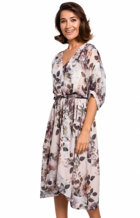 Szyfonowa sukienka w kolorowe kwiaty S226/1