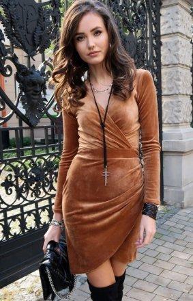 Elegancka kopertowa sukienka beżowa 0308