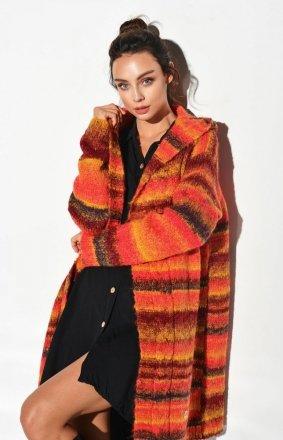 Ciepły sweter z kapturem rudy LSG103