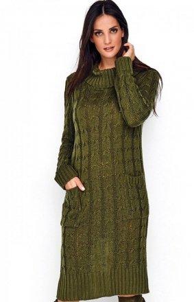 Sweterkowa sukienka z golfem khaki S68