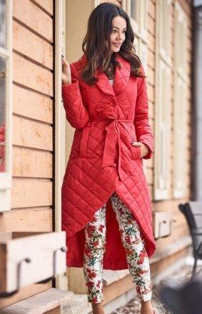 *Pikowany asymetryczny płaszcz damski czerwony