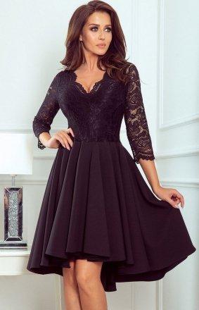 Czarna sukienka z dłuższym tyłem Numoco 210-10