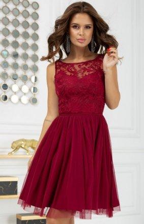 Koktajlowa sukienka z tiulem bordowa 2207-10