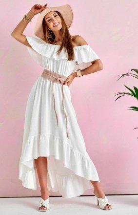 Asymetryczna sukienka hiszpanka ecru 0334