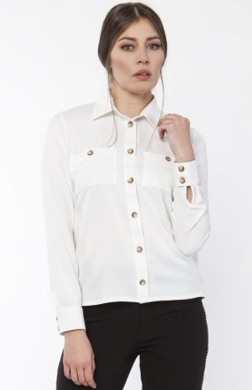 Koszula damska z dłuższym tyłem ecru K113