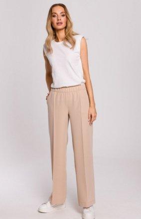 Szerokie spodnie damskie plazzo beżowe M570