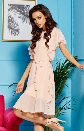 *Zwiewna łososiowa sukienka z falbankami L303