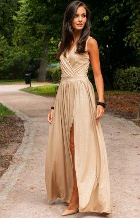 *Wieczorowa sukienka z brokatem beżowa 224