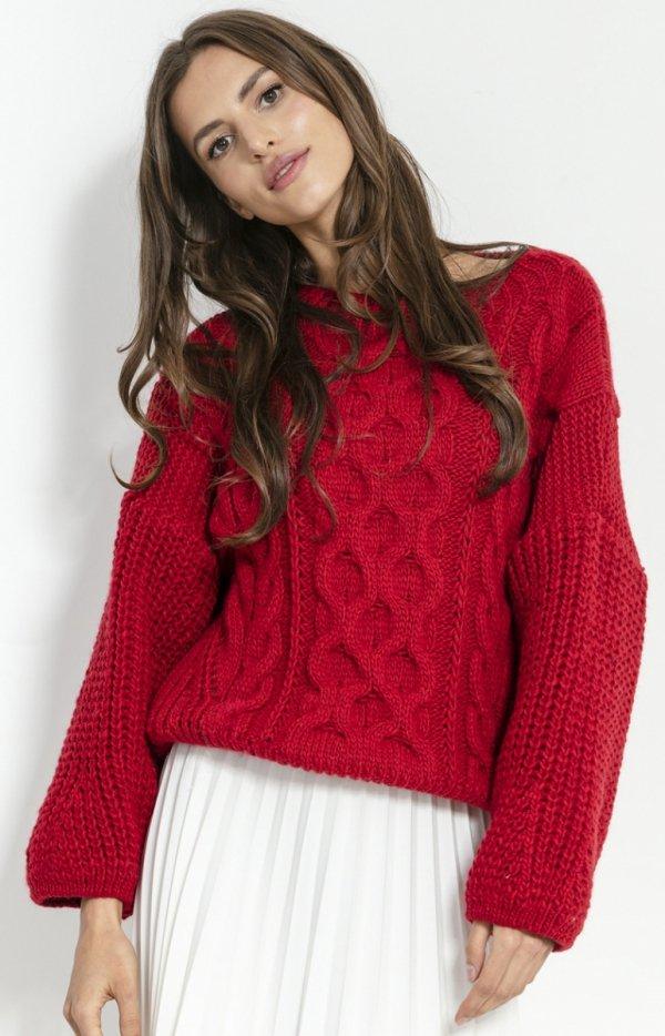 Czerwony oversizowy sweter Fobya F866-1