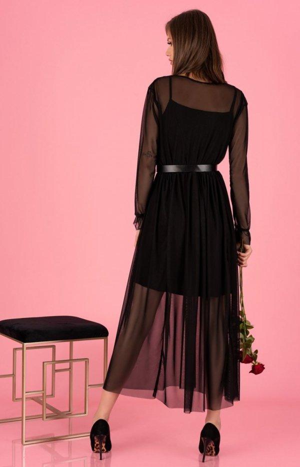 Długa sukienka czarna Mariedam 1405 tył
