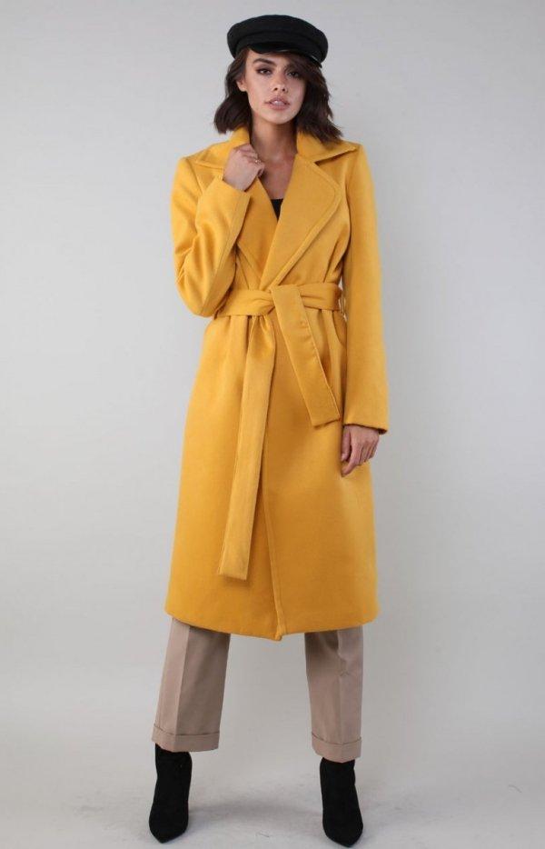 Ciepły płaszcz wiązany karmelowy NA186LP