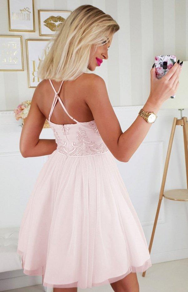 Koronkowa sukienka z tiulowym dołem 2186-12 tył
