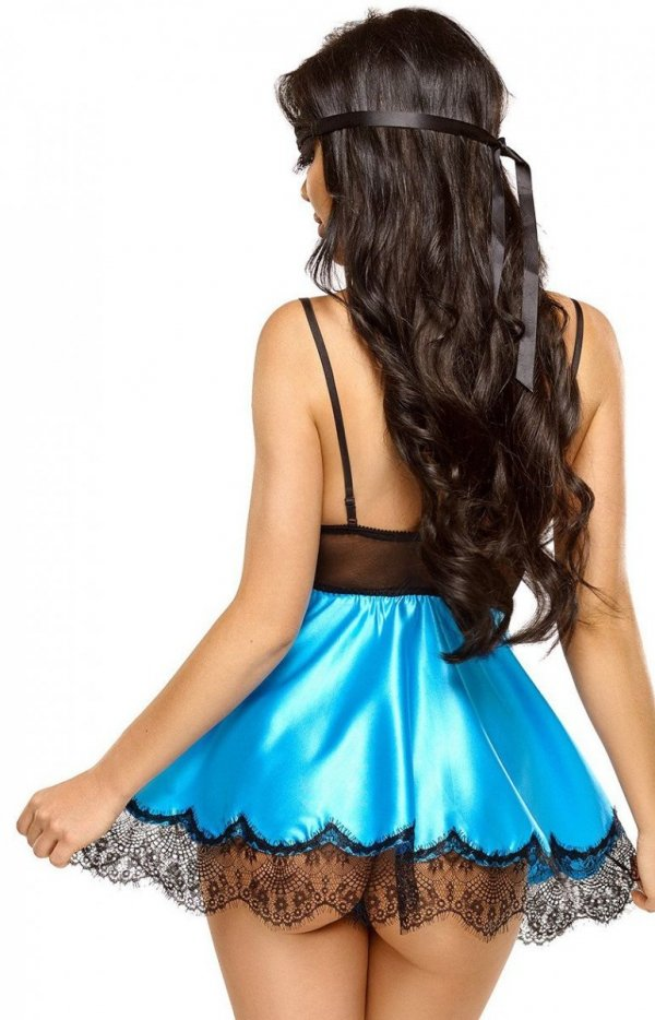 Beauty Night Eve rozkloszowana koszulka i stringi turkus tył