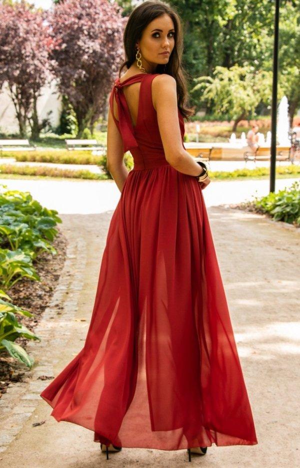 Długa szyfonowa sukienka 0213 ceglasty tył